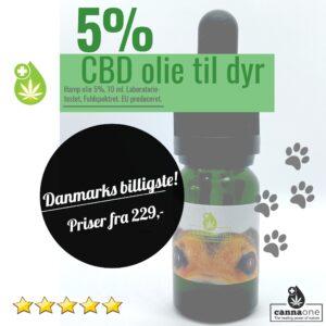 Kæledyr-Cannabis CBD Olie, 5% 10 ml. Danmarks billigste
