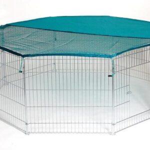 Stor Trixie hundegård i galvaniseret stål med 8 led og net